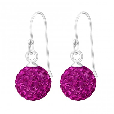 Crystal Ball - 925 Sterling Silver Earrings with Crystal stones A4S12601