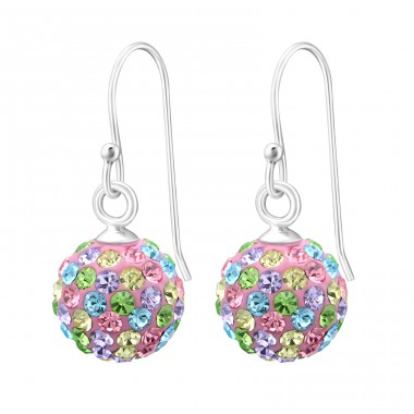 Crystal Ball - 925 Sterling Silver Earrings with Crystal stones A4S12995