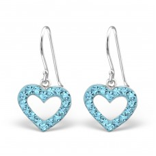 Heart - 925 Sterling Silver Earrings with Crystal stones A4S13862