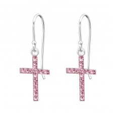 Cross - 925 Sterling Silver Earrings with Crystal stones A4S14408