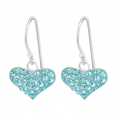 Heart - 925 Sterling Silver Earrings with Crystal stones A4S14410