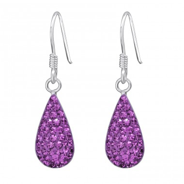 Drop - 925 Sterling Silver Earrings with Crystal stones A4S14743