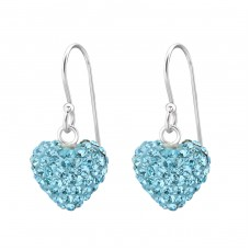 Heart - 925 Sterling Silver Earrings with Crystal stones A4S14905
