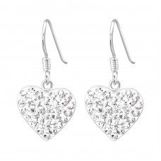 Heart - 925 Sterling Silver Earrings with Crystal stones A4S15413