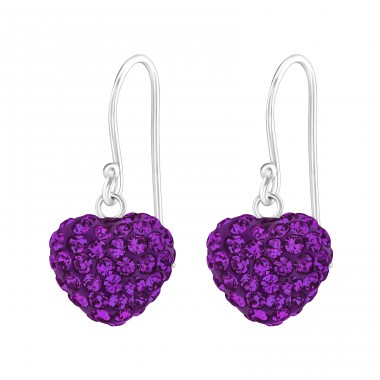 Heart - 925 Sterling Silver Earrings with Crystal stones A4S15582