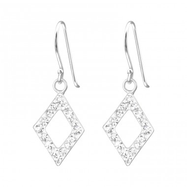 Diamond Shape - 925 Sterling Silver Earrings with Crystal stones A4S15863