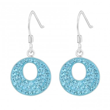 Round - 925 Sterling Silver Earrings with Crystal stones A4S15865