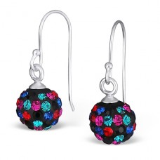 Crystal Ball - 925 Sterling Silver Earrings with Crystal stones A4S16179