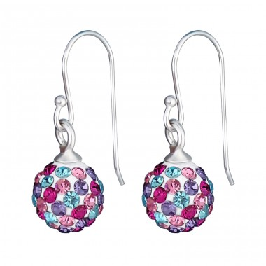 Crystal Ball - 925 Sterling Silver Earrings with Crystal stones A4S16181