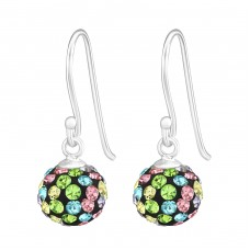 Crystal Ball - 925 Sterling Silver Earrings with Crystal stones A4S16182
