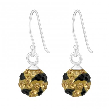 Crystal Ball - 925 Sterling Silver Earrings with Crystal stones A4S16230