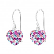 Heart - 925 Sterling Silver Earrings with Crystal stones A4S16469