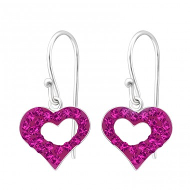 Heart - 925 Sterling Silver Earrings with Crystal stones A4S16471