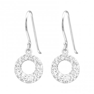 Round - 925 Sterling Silver Earrings with Crystal stones A4S16472