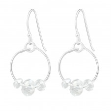Round - 925 Sterling Silver Earrings with Crystal stones A4S16978