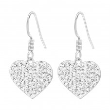 Heart - 925 Sterling Silver Earrings with Crystal stones A4S16979
