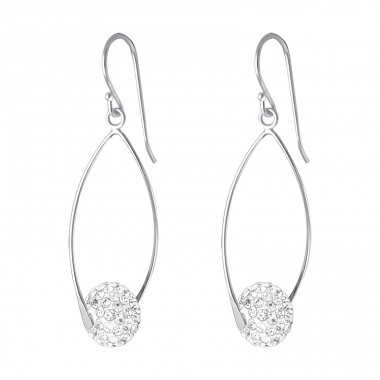 Oval With Crystal Ball - 925 Sterling Silver Earrings with Crystal stones A4S17421