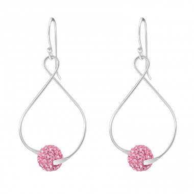 Twist With Crystal Ball - 925 Sterling Silver Earrings with Crystal stones A4S17442