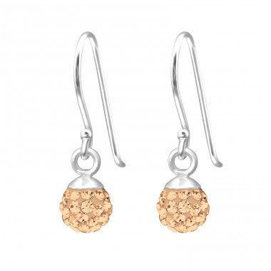 Crystal Ball - 925 Sterling Silver Earrings with Crystal stones A4S18850