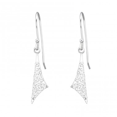 Triangle - 925 Sterling Silver Earrings with Crystal stones A4S18887