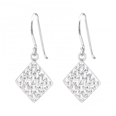 Square - 925 Sterling Silver Earrings with Crystal stones A4S18916