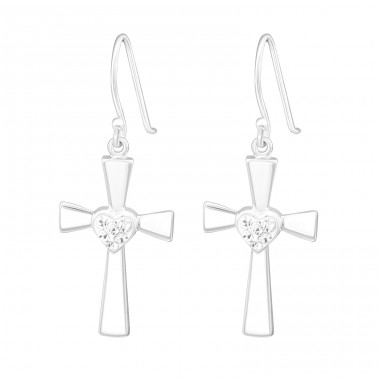 Cross - 925 Sterling Silver Earrings with Crystal stones A4S18917