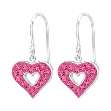 Heart - 925 Sterling Silver Earrings with Crystal stones A4S18985