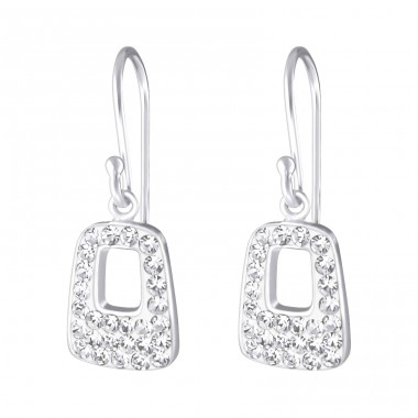 Rectangle - 925 Sterling Silver Earrings with Crystal stones A4S18990