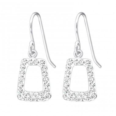 Parallelepiped - 925 Sterling Silver Earrings with Crystal stones A4S18991