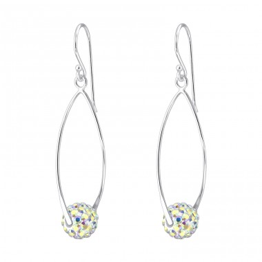 Oval With Crystal Ball - 925 Sterling Silver Earrings with Crystal stones A4S19016