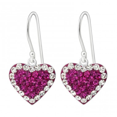 Heart - 925 Sterling Silver Earrings with Crystal stones A4S19397