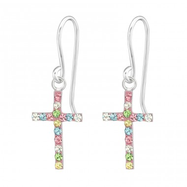Cross - 925 Sterling Silver Earrings with Crystal stones A4S20036