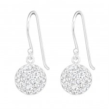 Round - 925 Sterling Silver Earrings with Crystal stones A4S20038