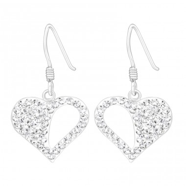 Heart - 925 Sterling Silver Earrings with Crystal stones A4S20547