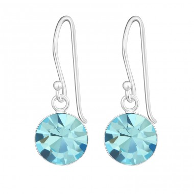 Round - 925 Sterling Silver Earrings with Crystal stones A4S23817