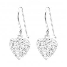 Heart - 925 Sterling Silver Earrings with Crystal stones A4S23926