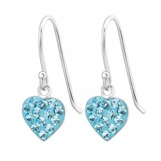 Heart - 925 Sterling Silver Earrings with Crystal stones A4S23927