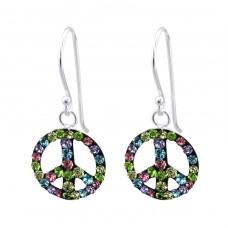 Peace - 925 Sterling Silver Earrings with Crystal stones A4S25003