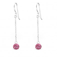 Ball - 925 Sterling Silver Earrings with Crystal stones A4S25142