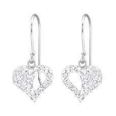 Heart - 925 Sterling Silver Earrings with Crystal stones A4S26529