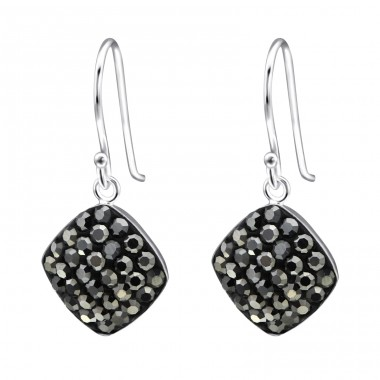 Square - 925 Sterling Silver Earrings with Crystal stones A4S27293