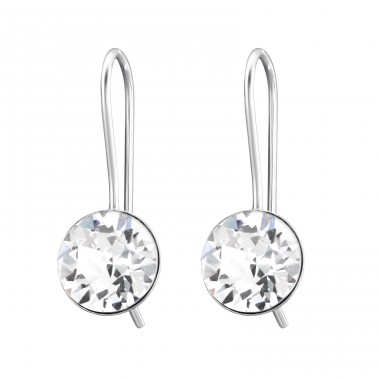 Round - 925 Sterling Silver Earrings with Crystal stones A4S27780