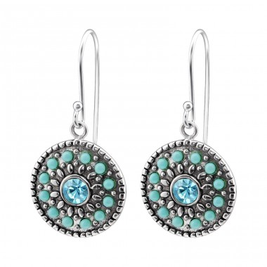 Round - 925 Sterling Silver Earrings With Crystal Stones A4S28215
