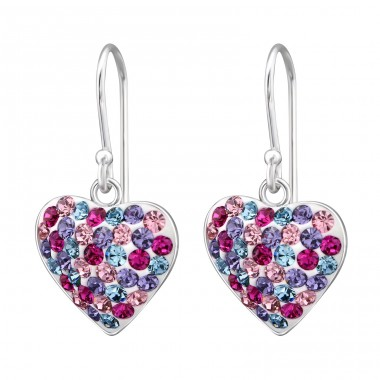 Heart - 925 Sterling Silver Earrings with Crystal stones A4S28751