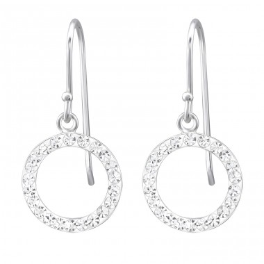 Circle - 925 Sterling Silver Earrings with Crystal stones A4S29430