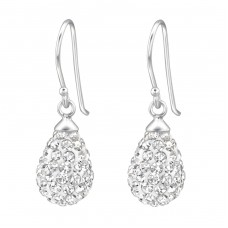 Teardrop - 925 Sterling Silver Earrings with Crystal stones A4S31149