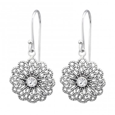 Vintage - 925 Sterling Silver Earrings with Crystal stones A4S31389