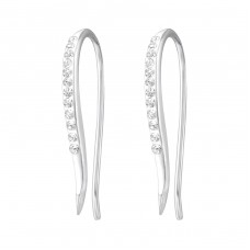Curved - 925 Sterling Silver Earrings with Crystal stones A4S32053