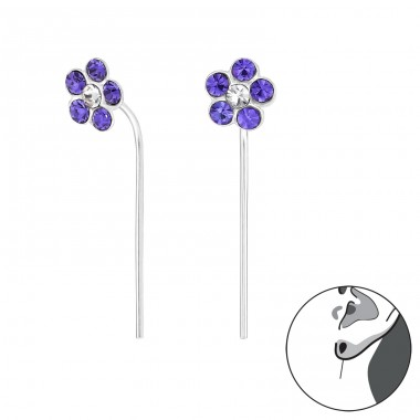 Flower - 925 Sterling Silver Earrings with Crystal stones A4S32494