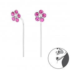 Flower - 925 Sterling Silver Earrings with Crystal stones A4S32495